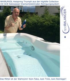 WHIRLPOOL Hotspring Triumph aus der Highlife Collection mit ACE-Salzwasser-Diamantelektroden-Reinigungssystem